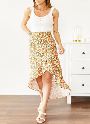XHAN Sarı Çiçek Desenli Fırfırlı Etek 0Yxk7-43875-10 Sarı